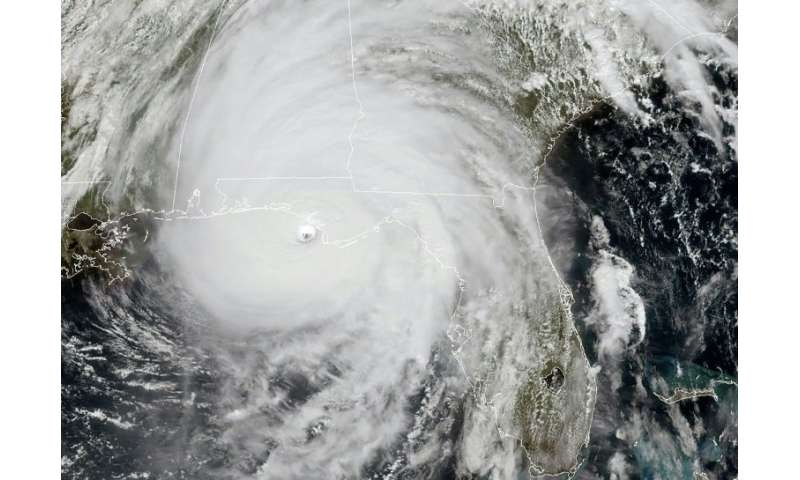 This NOAA/RAMMB satellite image shows Hurricane Michael as it approaches land near the US Gulf Coast