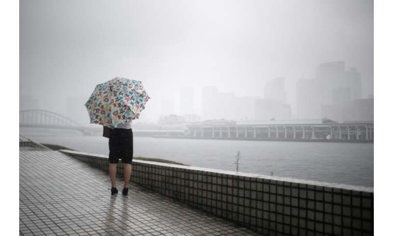 Typhoon Jongdari arrived in central Japan in the early morning hours of Sunday morning