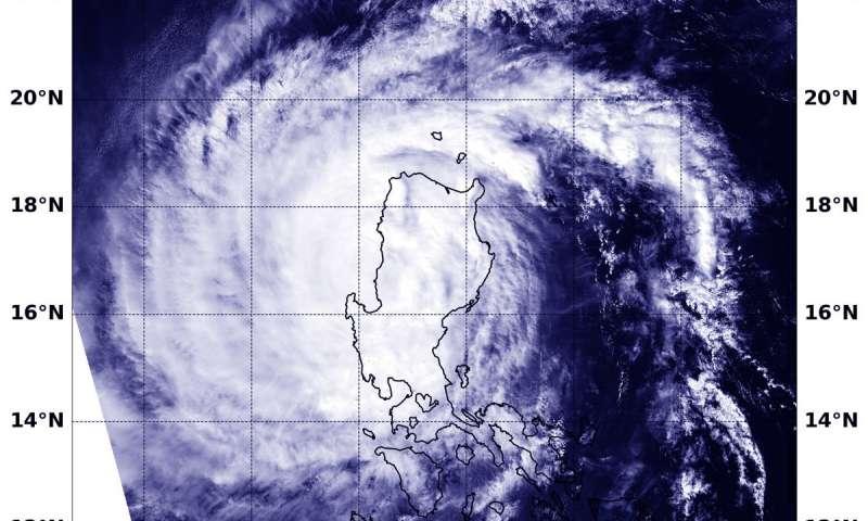NASA's Aqua Satellite captures Typhoon Yutu exiting the Northern Philippines