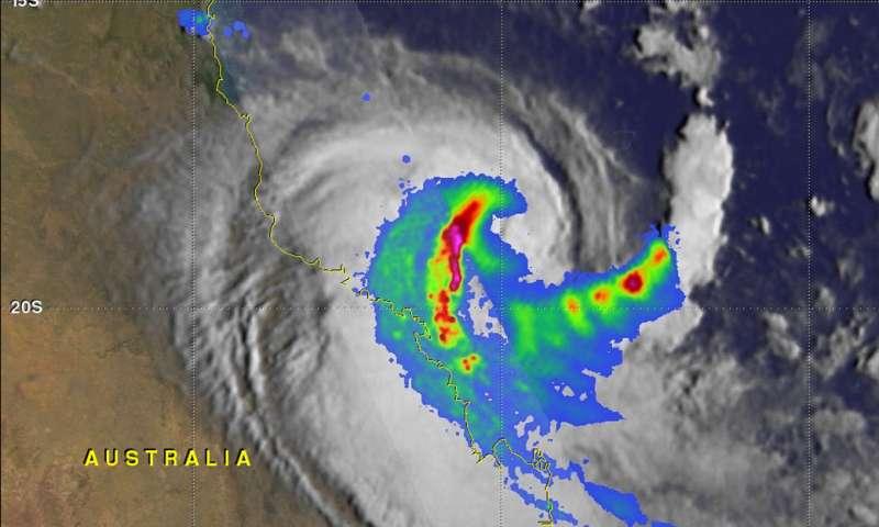 GPM satellite probes Tropical Cyclone Iris weakening near Australian coast