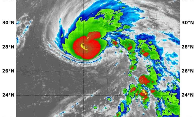 NASA analyzes tropical storm Wukong's strawberry-shape