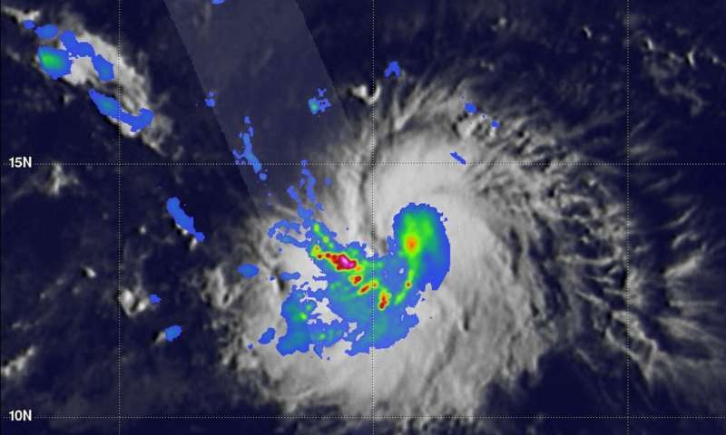 NASA's GPM finds heavy rain in a band wrapping into Tropical Storm Miriam