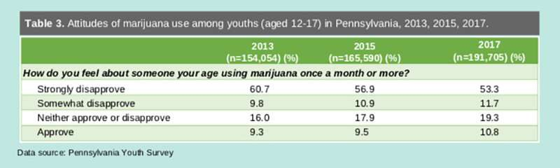 Pennsylvania's youth more accepting of marijuana, but not using it more, report shows