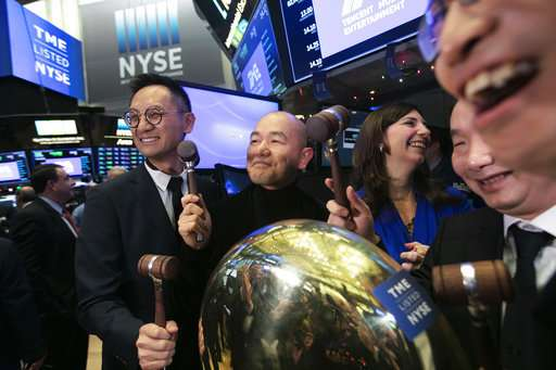 Tencent Music shares rise on first trading day