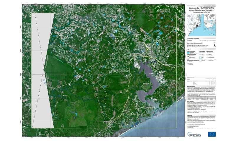 Copernicus Sentinel maps Hurricane Florence flooding