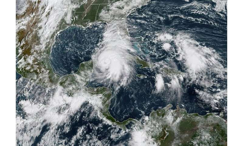 Hurricane Michael, pictured in a satellite image taken on October 8, 2018, when it was still a tropical storm, could produce lif