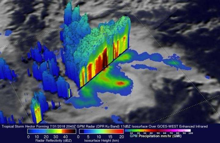 NASA's GPM sees Tropical Storm Hector forming