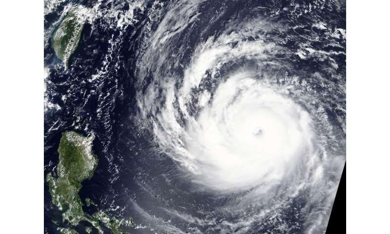 NASA's Terra Satellite glares at the 37-mile wide eye of Super Typhoon Trami