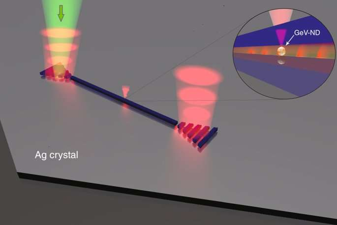 On-chip excitation of nanodiamonds embedded in plasmonic waveguides