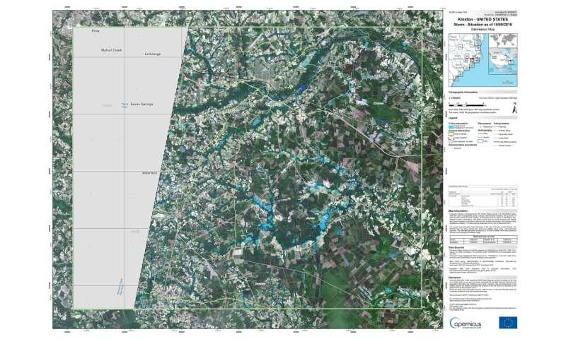 Copernicus Sentinel maps Florence Hurricane flood