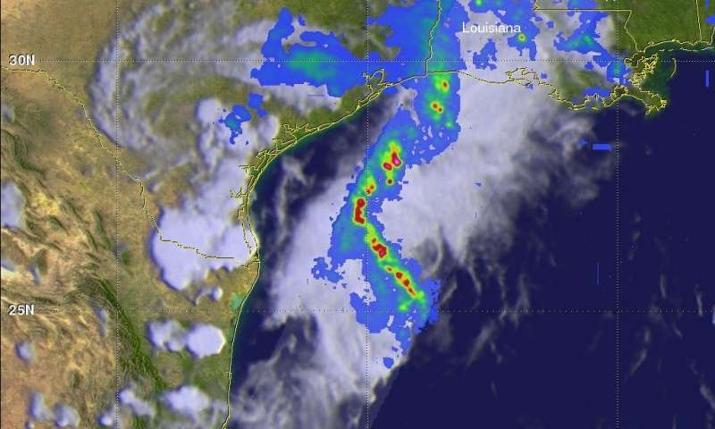 GPM satellite probes soaking storms in Southern Texas and the Gulf