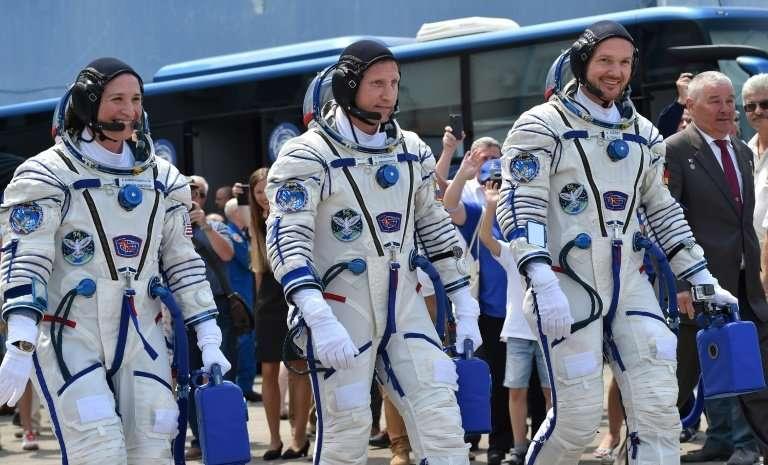 NASA astronaut Serena Aunon-Chancellor, Roscosmos cosmonaut Sergey Prokopyev and German astronaut Alexander Gerst set off in Jun