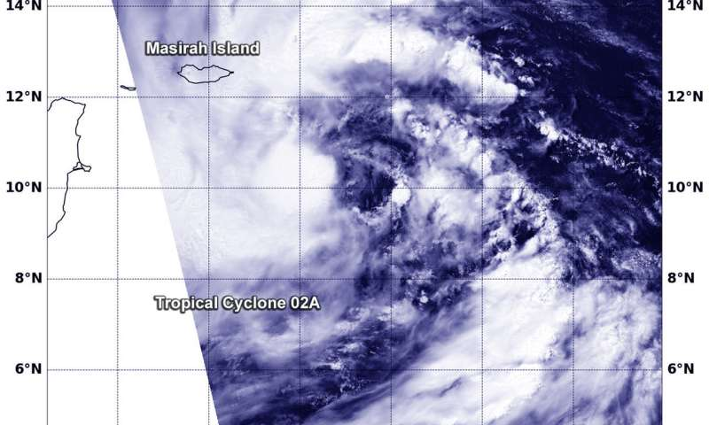 NASA's Aqua satellite observes formation of Tropical Cyclone 02A