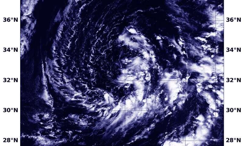 NASA's Terra Satellite finds Subtropical Storm Leslie drifting in Central Atlantic