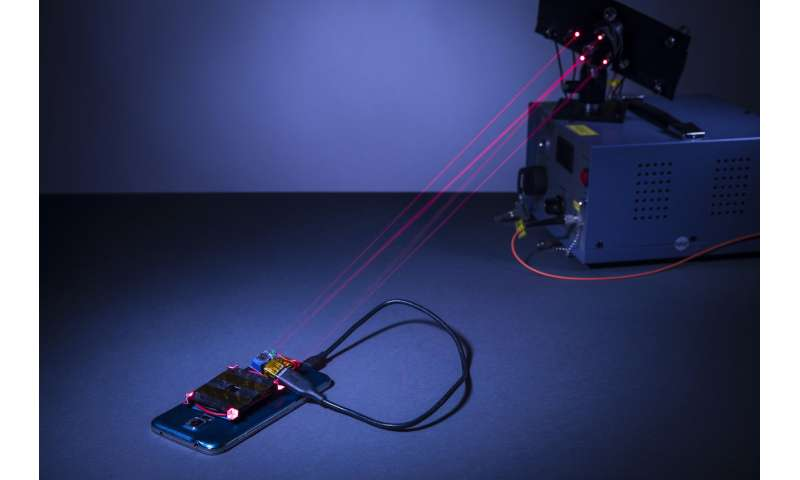 Using a laser to wirelessly charge a smartphone safely across a room