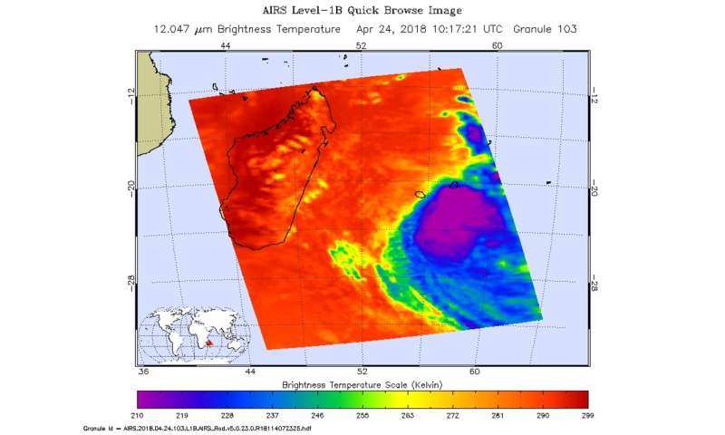 NASA finds Tropical Cyclone Fakir weakening