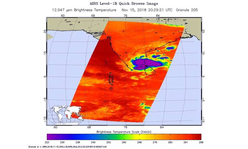 NASA catches Tropical Cyclone Gaja's landfall