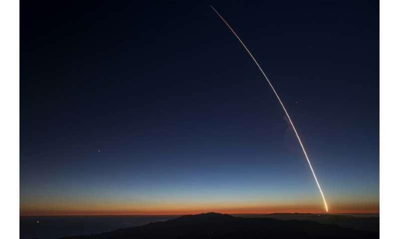 TheSpaceX Falcon 9 rocket launches from Vandenberg Air Force Base carrying the SAOCOM 1A and ITASAT 1 satellites, as seen durin