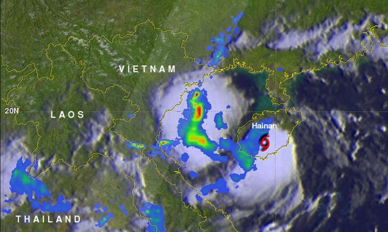 Tropical Cyclone Son-Tinh makes landfall and NASA examines its trail of rainfall