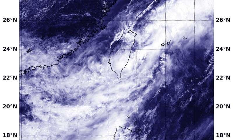 NASA's Aqua satellite sees Tropical Depression Gaemi exit Taiwan