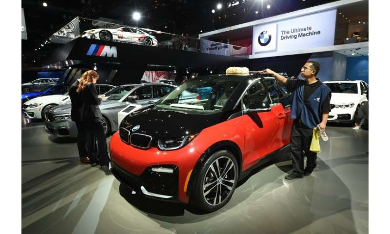 A 2018 BMW i3s electric car at the auto trade show AutoMobility LA in November 2017