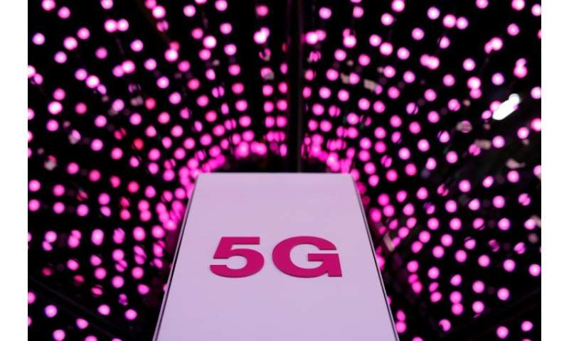 A 5G antenna at the Deutsche Telekom stand at the Mobile World Congress in Barcelona