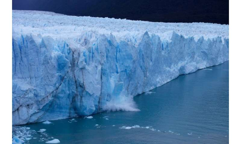 A chunck of ice falls from the Perito Moreno Glacier, at Los Glaciares National Park, near El Calafate in the Argentine province