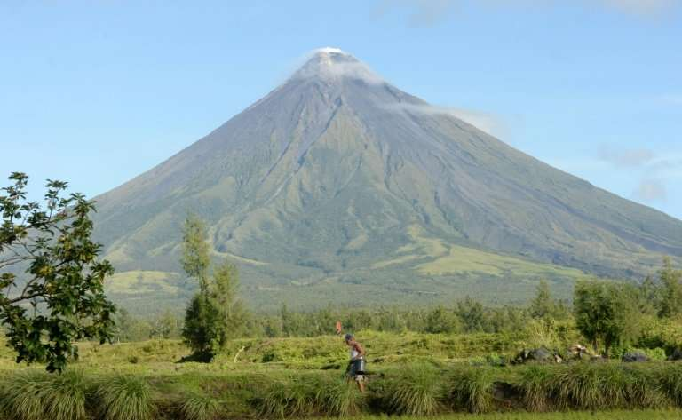 A farmer walks along a rice field near the foot of the Philippines' Mayon volcano in Legazpi City, Albay province, on December 1