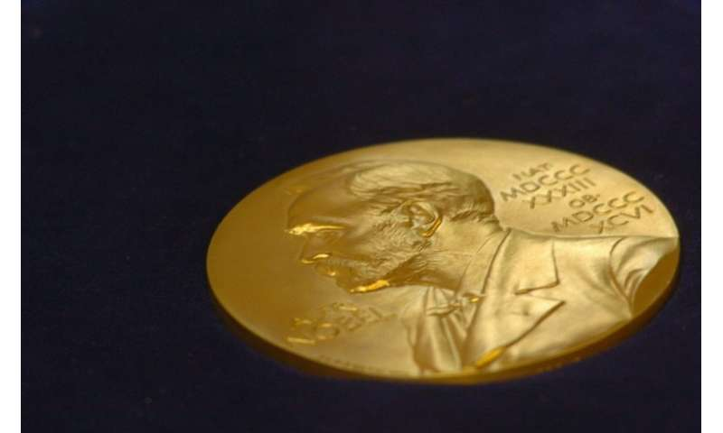 A gold replica of the Nobel medal