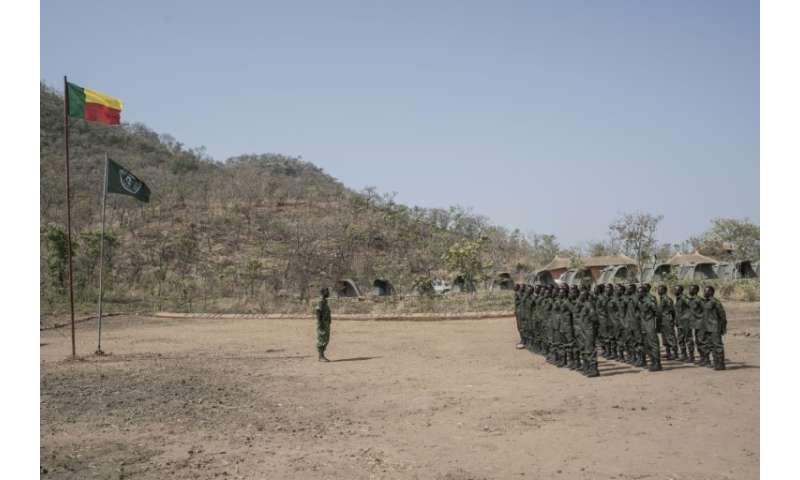 A graduation ceremony for rangers at the Pendjari National Park training facility near Tanguieta