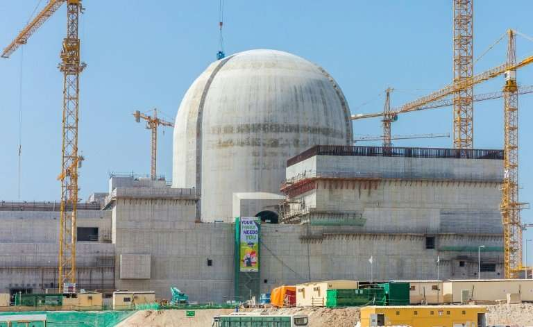 A handout photo released by the ENEC on June 1, 2017 shows part of the Barakah nuclear power plant under construction near al-Ha