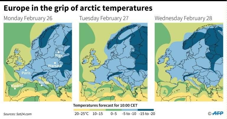 A map with forecasts of below-freezing temperatures in northern Europe for Monday, Tuesday and Wednesday