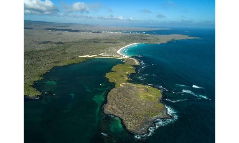An aerial view of the Tortuga Bay area in Santa Cruz Island, Galapagos, Ecuador—a popular tourist destination, but one which can