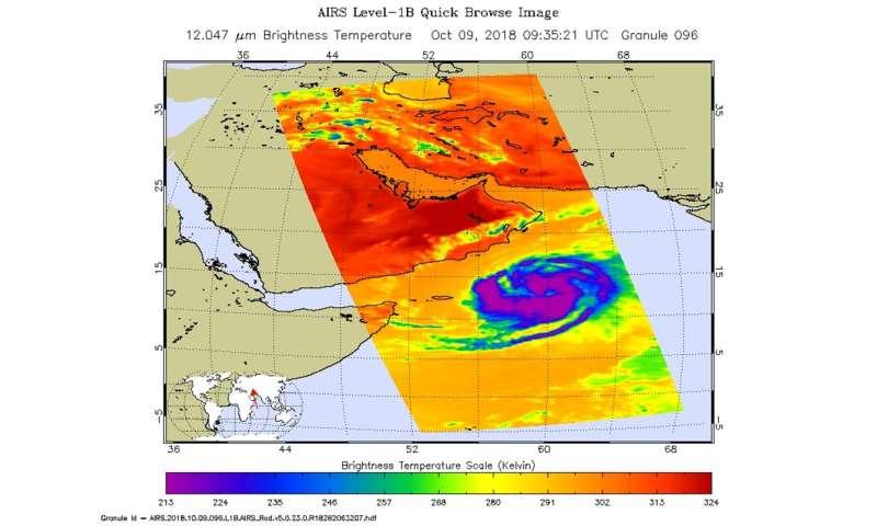A NASA infrared view at Arabian Sea's Tropical Cyclone Luban