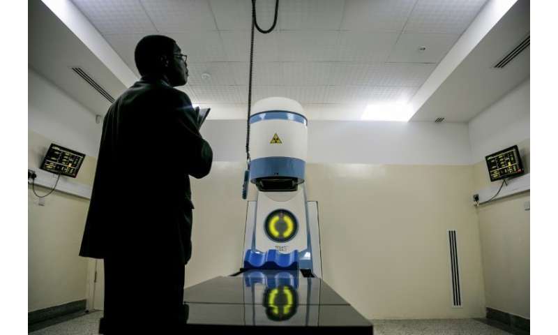 A new Cobalt 60 Radiotherapy Machine pictured during its installation at Mulago hospital in Kampala, Uganda on January 19, 2018
