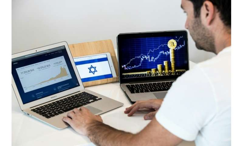 An Israeli consultant trades the cryptocurrency, bitcoin, online, in the Israeli city of Tel Aviv in this picture taken on Janua