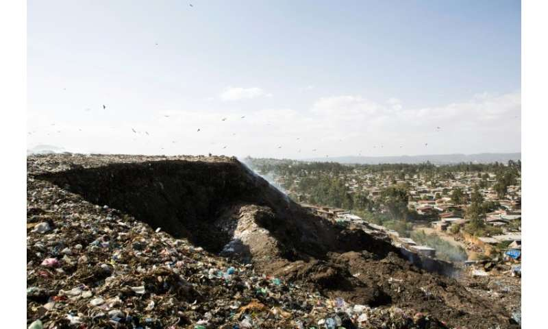 A photo taken March 12, 2017 shows a view of the main landfill of Addis Ababa on the outskirts of the city, where Ethiopia has b