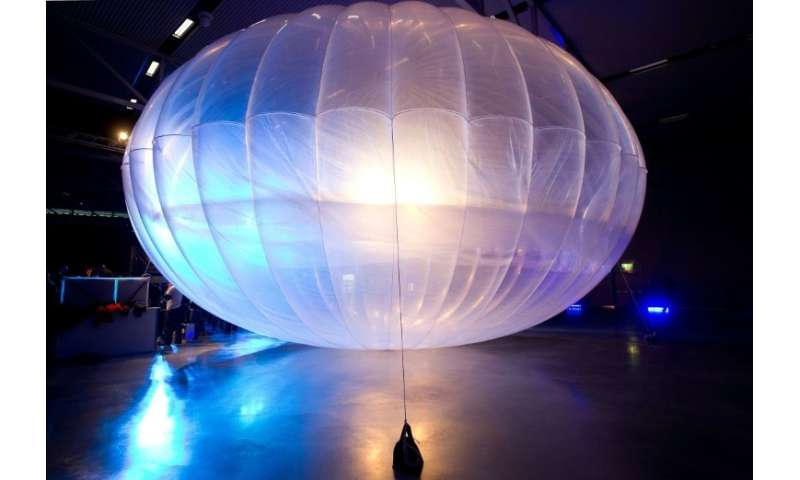 "A Project Loon balloon is seen in New Zealand in 2013, one of Google parent Alphabet's ""moonshot"" projects that is now"