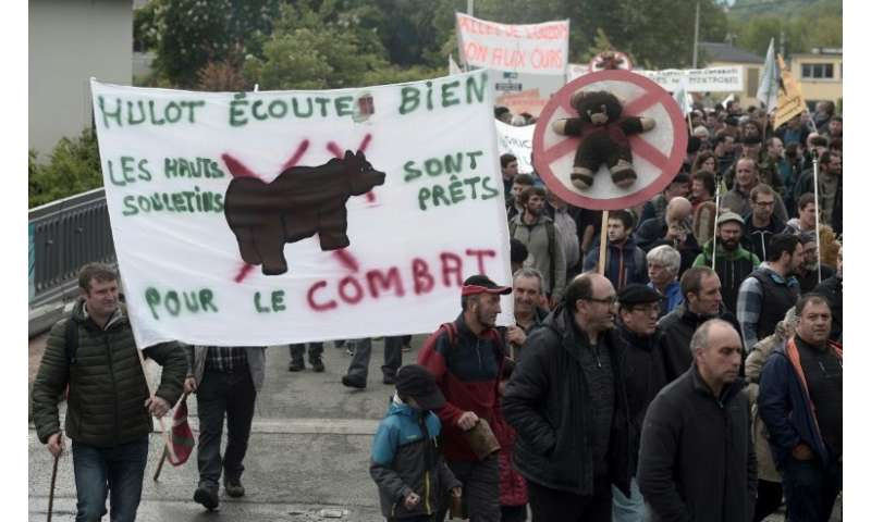 A protest by shepherds in Pau, southwest France, this year against the reintroduction of bears in the Pyrenees mountains