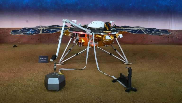 A replica of the Mars InSight lander at NASA's Jet Propulsion Laboratory in Pasadena, California, showing instruments used to st