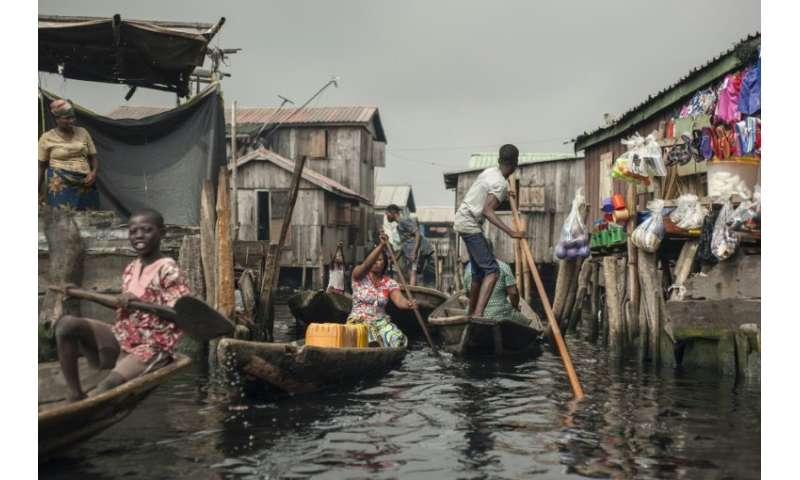 Around a quarter of a million people live in Makoko—it is believed to be the biggest floating community in the world