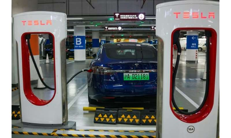 A Tesla vehicle is parked at a charging station inside a mall in Shanghai on October 23, 2017; the electric carmaker has diclose