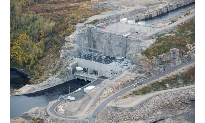 A view of Hydro-Quebec's Romaine 1 dam floor in Canada—the huge construction project, ongoing for a decade, is nearing completio