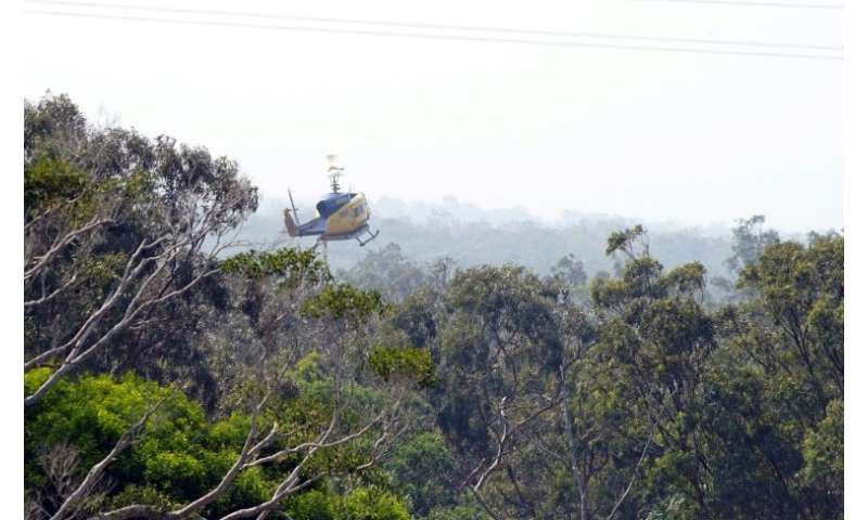 A water bomber helicopter returns to fill its tank in the Blackwater creek of Deepwater National Park area of Queensland