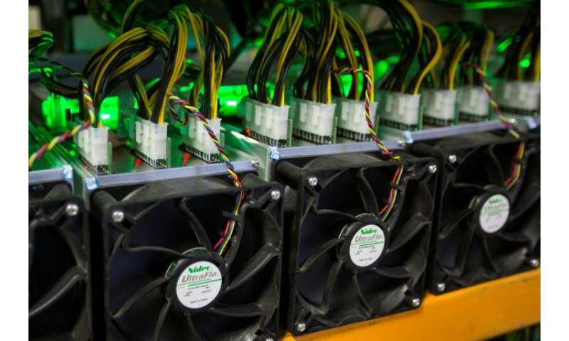 Bitcoin is mined at Bitfarms in Saint Hyacinthe, Quebec on March 19, 2018, a process which requires powerful computers that are