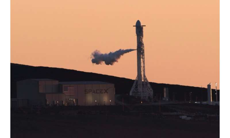 California-based SpaceX used a Falcon 9 rocket, an example of which is seen here, to blast off a four-ton military satellite for