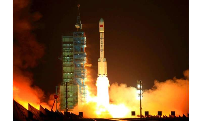 "China's Tiangong-1 or ""Heavenly Palace"" spacelab was put into into orbit in September 2011"