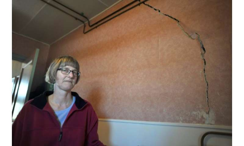 Dutch homeowner Martha Bos in 2013 after repeated earthquakes due to natural gas extraction caused a crack in a wall in her home