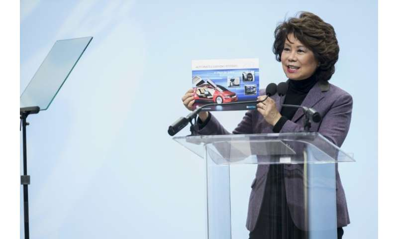 Elaine Chao, US Secretary of Transportation, highlights Trump tax cuts at 2018 North American International Auto Show Press Prev