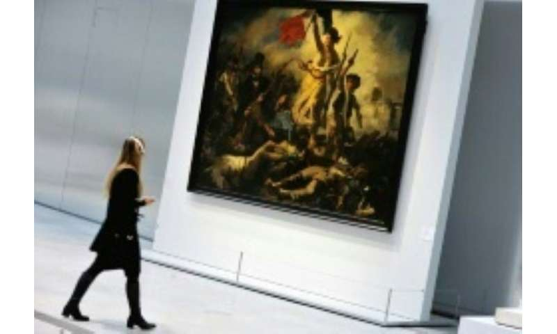 "Eugene Delacroix's famous painting, ""Liberty Leading the People"", was temporarily banned on Facebook because it depict"